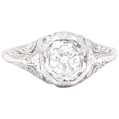 Hand Engraved Art Deco 0.50 Carat Diamond Ring in 18 Karat White Gold