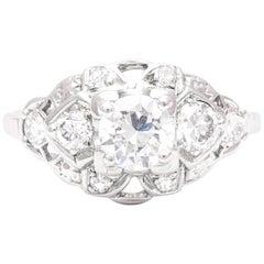 Art Deco 0.65 Carat Diamond Engagement Ring in Platinum