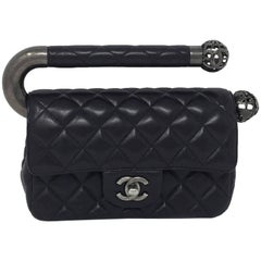 """Chanel Black Leather Classic Flap Bag with Metal Handle, """"Around the World"""""""
