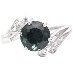Retro Mid-Century Tourmaline and Diamond Ring in Platinum