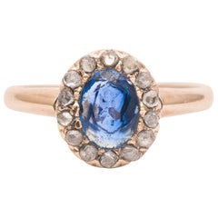 Victorian Sapphire and Rose Cut Diamond Ring in Yellow Gold