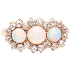Victorian Opal and Diamond Ring in 18 Karat Yellow Gold