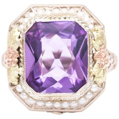 Art Deco Floral Tri Color Gold Amethyst and Pearl Ring