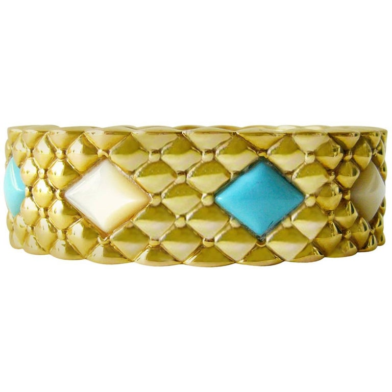 Italian Turquoise Mother-of-Pearl Gold Hinged Bracelet 1