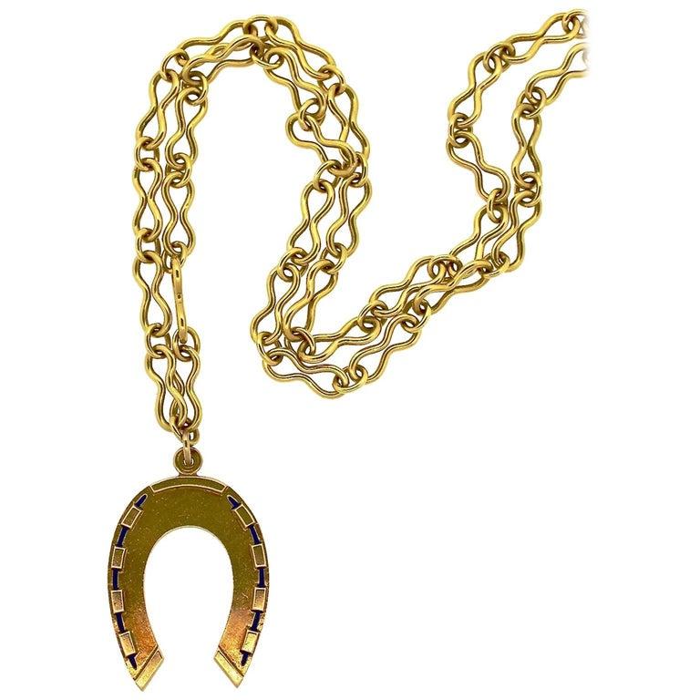mid century modern gold horseshoe pendant necklace for