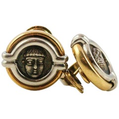 Bulgari White and Yellow Gold Ancient Coin Stud Earrings
