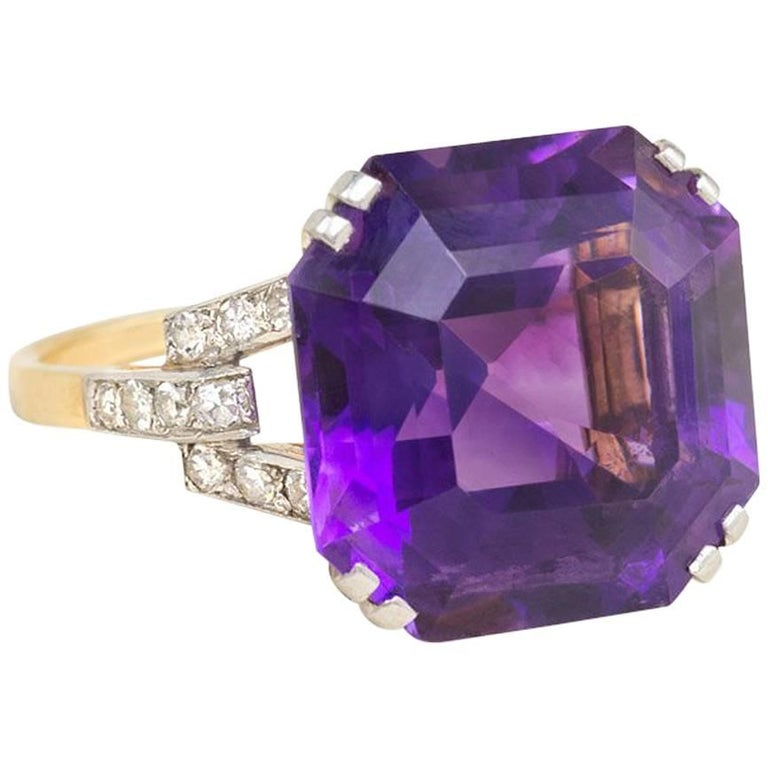 1940s Amethyst Cocktail Ring with Diamond Accents For Sale