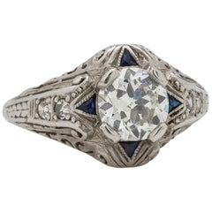 1920s Art Deco Diamond Sapphire Platinum Engagement Ring 0.89 Carat, E-SI2