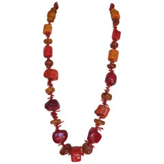 Large Coral Amber Necklace Gold Clasp by Marina J