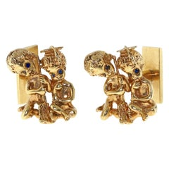 William Ruser Angel Yellow Gold Cufflinks with Sapphire Eyes