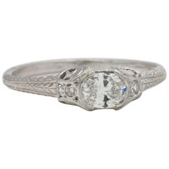 Engraved Platinum Engagement Ring 0.32 Carat Oval Cut G-VVS2