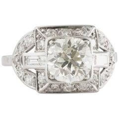 1930s Art Deco 1.95 Carat Old European Diamond and Platinum Engagement Ring
