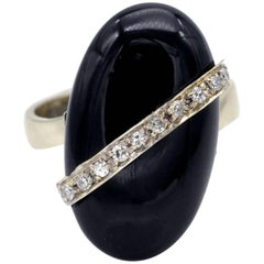 Onyx and Diamond Gold Ring