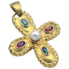 Pearl Tourmaline Citrine Gold Cross Shaped Pendant