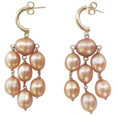 Golden Hue Baroque Pearl Dangle Earring by Marina J
