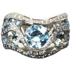Greg Holland Aquamarine Diamond Sapphire Cocktail Ring