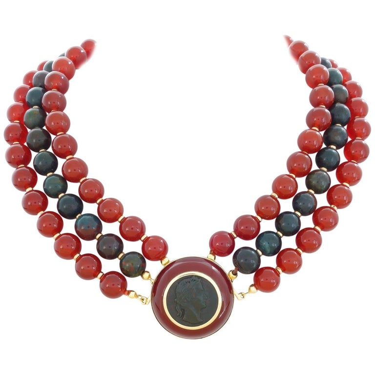 Trianon Heliotrope Carnelian Bead Gold Necklace Brooch