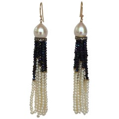 Pearl, Black Spinel and Gold Dangle Earrings by Marina J