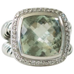 David Yurman Albion Ring with Prasiolite, Diamonds, and Sterling Silver