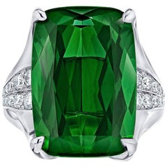 14.78 Carat Cushion Green No Heat Tourmaline Diamond Ring