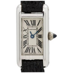 Cartier Ladies White Gold Tank Elongee Manual Wristwatch, circa 1980s