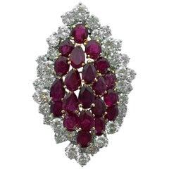 1970s French Ruby Diamond Platinum Gold Ring