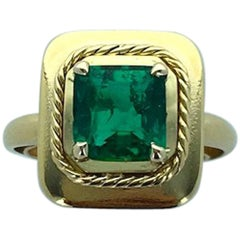 Antique 1.70 Carat Emerald Colombian Gold Ring