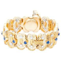 Vacheron Constantin ladies Yellow gold Diamond Sapphire Manual Wristwatch