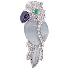 Andreoli Aquamarine and Diamond Parrot Brooch