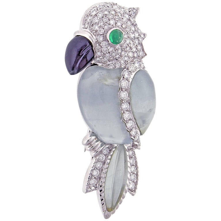 AndreoliAquamarine and Diamond Parrot Brooch