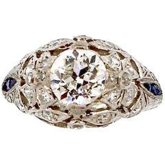 Antique Art Deco Platinum Sapphire Diamond Ring