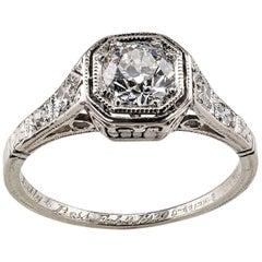 Shreve & Co 1920s Art Deco .40 Diamond Platinum Engagement Ring