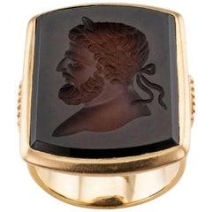 Art Deco 1920s Sardonyx Intaglio Gentleman's Gold Signet Ring