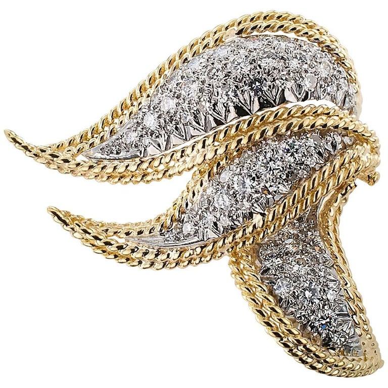 Scarf Brooch 1970s Diamond Gold Brooch