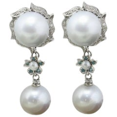 Pearls and Diamonds Dangle Earrings