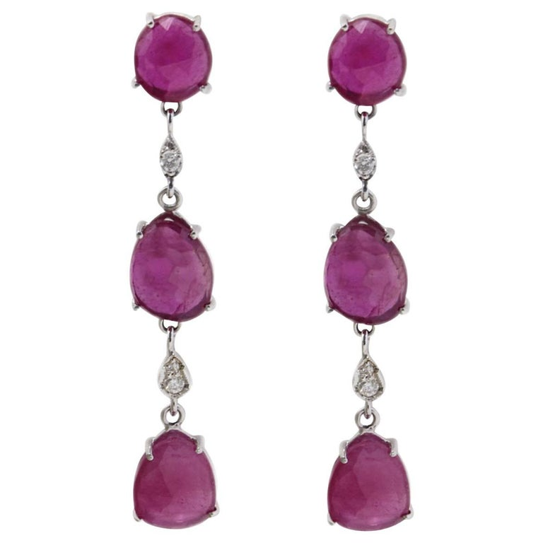 Diamonds and Rubies Dangle Gold Earrings