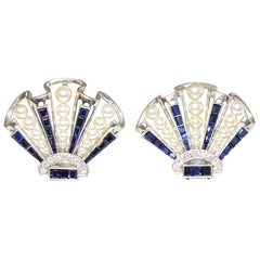 Art Deco Sapphire Pearl Diamond Scallop Dress Clips