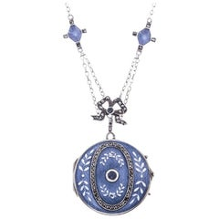 Edwardian Silver Sapphire and Marcasite Blue Enamel Locket