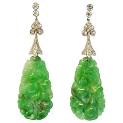 Art Deco J.E. Caldwell Carved Jade Earrings