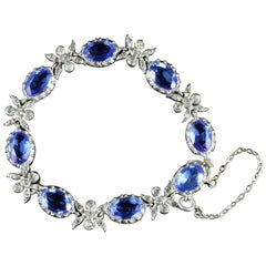 Antique Victorian Silver Blue Paste Bracelet, circa 1900