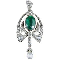 Antique Green White Paste Silver Pendant, circa 1900