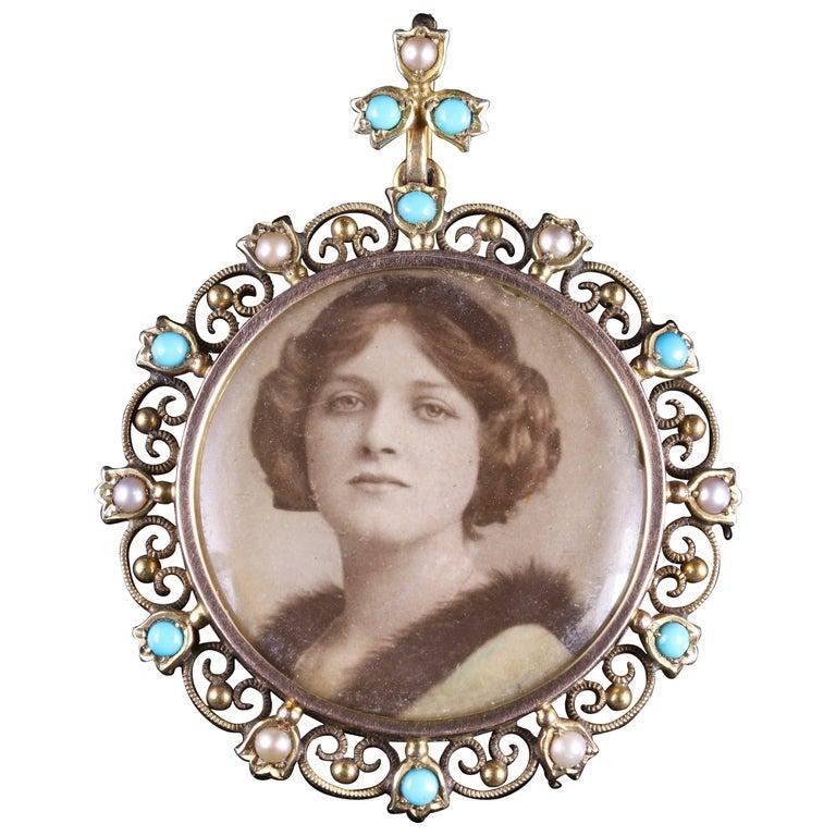 Antique Victorian Turquoise Pearl Gold Picture Pendant Locket, circa 1900