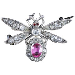 Antique Victorian Pink Paste Silver Insect Brooch, circa 1900