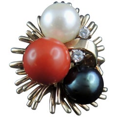 Cocktail Ring Set with Diamonds, Coral and Pearls, circa 1970