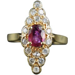 French Gold Navette Ring with Ruby and Diamonds, circa 1980