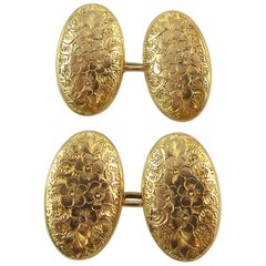Antique 15 Carat Gold Cufflinks, Hallmarked London, 1912