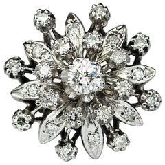 Vintage Diamond White Gold Ring Snowflake Starburst Flower