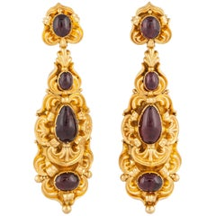 18 Karat Georgian Garnet Earrings