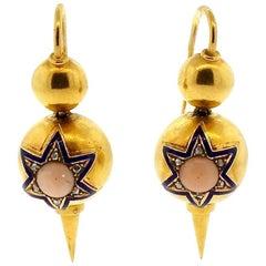 Antique Victorian Coral Diamond Enamel Gold Dart Earrings