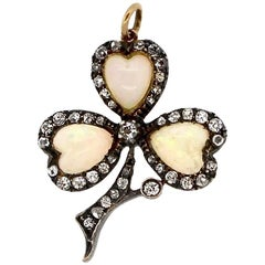 Antique Late Victorian Silver Topped Gold Opal Clover Pendant